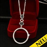 NEU 🌸 BLOGGER Lange Silber MODE Halskette STATEMENT Anhänger STRASS 🌸 Fashion