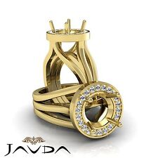 Diamond Engagement Pre-Set Ring Round Semi Mount 0.4Ct F-G Color 18k Yellow Gold