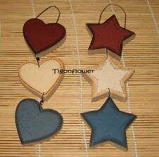 2 Country Wood Cut Out Sign STAR HEART Primitive Plaques Decor