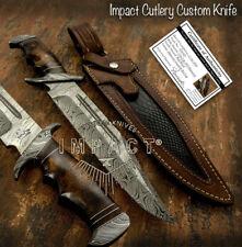 IMPACT CUTLERY RARE CUSTOM DAMASCUS FULLER BOWIE KNIFE BURL WOOD HANDLE