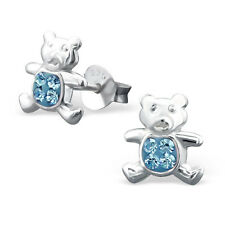 Childrens Kids 925 Sterling Silver Bear Ear Studs with Crystals-Free Gift Box
