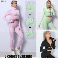 3 Pcs//Set Yoga Set Women Fitness Workout Suit Gym Suit Sport Leggings Crop Top