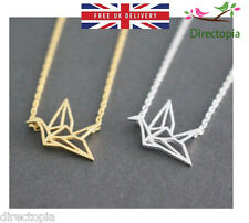 Origami Crane Bird Necklace Pendant Dainty Kawaii Minimalist Cute