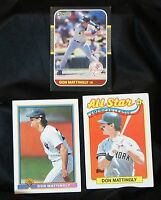 Don Mattingly NY Yankees LOT 3 baseball cards: Topps All Star, Bowman, Donruss