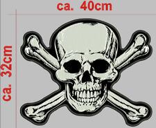 Totenkopf-mit  gekreuzten Knochen  Rückenpatch Aufnäher B40cm x H32 cm