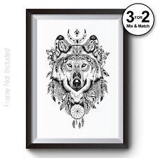 Geometric Wolf Art Print on 100% COTTON Paper, Aztec American Indian Home Decor