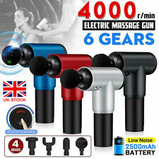Pistola de masaje de cabeza 4 Masajeador De Percusión vibración muscular Tratamiento Relajante enchufe de Reino Unido