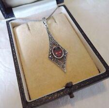 Sterling Silver Garnet Marcasite Pendant Necklace