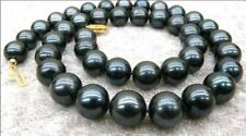 14K Solid Gold 9-10mm Black Tahitian Cultured Pearl Necklace 18''Aaaa Hk02