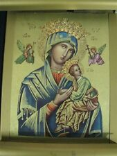 "1950's Electrically Lit Religious Icon of the Madonna Printed on Metal 12"" X 10"