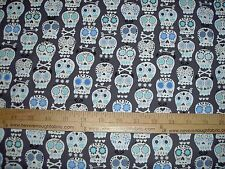 Cotton Fabric Michael Miller Bone Head Charcoal Skulls Goth Punk Calaveras BTY