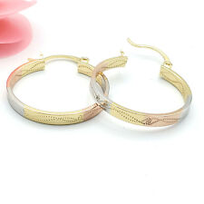 Women's Jewelry Gold Plated Tri Color Diamond Cut Hoop Earrings. Oro Laminado