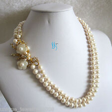 "Pearl Necklace Pearl Jewelry 20-21"" 8-9mm White 2Row Freshwater"