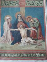 stampa antica in cromolitografia - Via Crucis XIII stazione