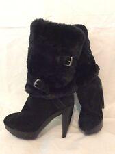 Nine West Black Mid Calf Suede Boots Size 6Uk