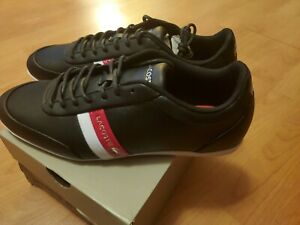 Lacoste Shoes Storda Sport 319 1 Mens  Leather Fashion Sneakers Black Red 8.5