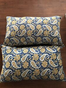 "Pottery Barn Set Of 2 Floral And Paisley Indoor/Outdoor Pillows 15""x 26"""