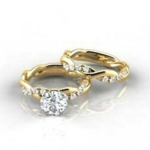18K Gold  Luxurious Shiny White Sapphire Bridal Marriage Engagement Rings  A Set