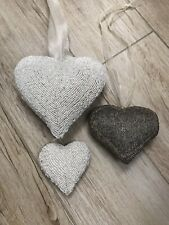 Set Of 3 Decorative Beaded Hearts In 3 Sizes White & Grey