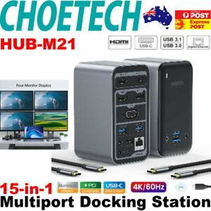 Choetech HUB-M21 USB-C 15-in-1 Docking Station 3x HDMI 4K Video Output Laptop