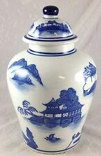 """Large Blue Willow Oriental Design Pattern 10 1/2"""" Porcelain Ginger Jar & Lid"""