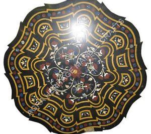 "30"" Marble Black Coffee Corner Table Top Inlay Precious Art Bedroom Decor H5021A"