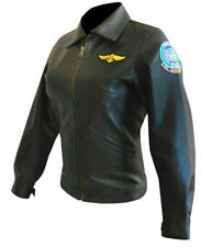 Women Top Gun Kelly McGillis (Charlie) Bomber Black Pilot Aviator Leather Jacket