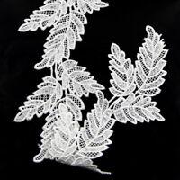 2Yds White Black Leaf Lace Edge Trim Applique DIY Sewing Craft Gift Pack Ribbon