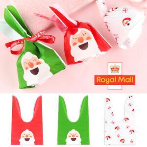 50/100x Christmas Sacks Reusable Drawstring Wrap Present Gift Party Bags Storage