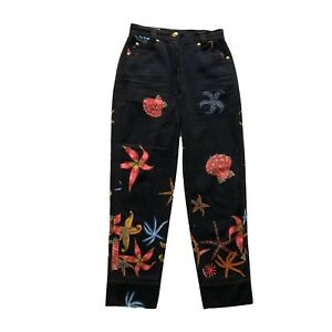 Vintage Gianni Versace Medusa Sea Shell Denim Jeans Pants