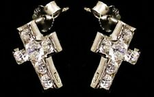 New Sterling Silver Pair Cubic Zirconia Set  Small Cross Stud Earrings.