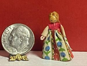 """Artisan Vintage Wood & Wire 1"""" Doll with Braid Dollhouse  Handmade Floral Gown"""