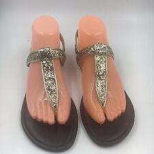 New Women Shoes MATERIAL GIRL MH Saucer Silver Glitter Thongs sz 8