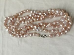 Pink Flapper Length Freshwater Pearl Necklace With Sterling silver Clasp