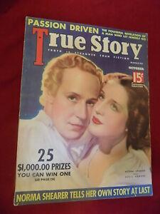 Oct 1936 True Story Magazine Norma Shearer Leslie Howard Cover