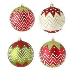 "RAZ Imports~Chevron Glittered 4"" Christmas Ball Ornaments ~Set of 4"