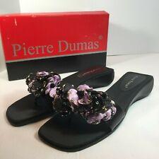 Pierre Dumas BomBom Womens Black Purple Flowers Wedge Thong Sandals Size 8M NIB