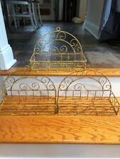 S/3 Vintage Shabby French Metal Wire Wall Shelf Baskets