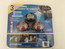 GMS Industries 3 Ultra Bright 10 LED Headlamps Batteries Included!