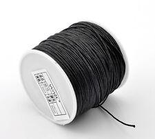 3 Meter Black Premium Cotton Waxed Cord Beading Thread String 0.7mm Dia(B21508)