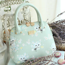 Women Lolita Shoulder Bag Fresh Cat Print Sweet Girl Green Messenger Bag Handbag