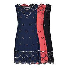 1920's Vintage Scallop Flapper Downton Gatsby Charleston Sequin Shift Dress 8-24
