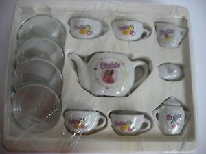 Barbie Tea Set Dishes Ceramic 13 Pieces Cups Plates Teapot Pretend Play