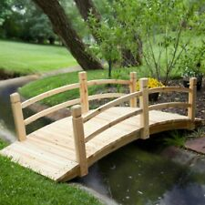 6 ft Wood Garden Pond Bridge Ornament Outdoor Yard Decor Japanese Arch Fairy