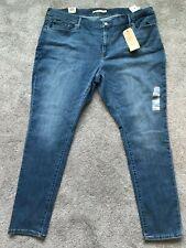 Levi's Womens 711 Skinny Stretch Med Blue Jeans - Plus Size 24W M Soft New Nwt