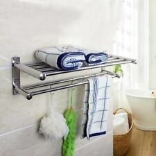 Wall Mounted Bathroom Towel Rail Holder Storage Rack Shelf Bar Stainless Steel