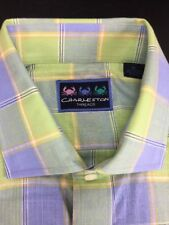 New Charleston - XL - 100% Cotton Lt. Blue, Green, Gold & White Plaid LS Shirt