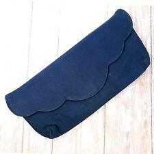 Vintage Fabrique Clutch 50s Pinup Blue Scallop Edge Handbag Cocktail Party Purse