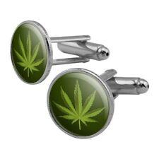 Marijuana Leaf Design Cannabis Pot Round Cufflink Set Silver Color