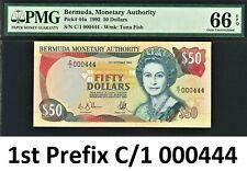 Bermuda $50 QEII 1992 First Prefix - LOW Serial 000444 P-44a GEM UNC PMG 66 EPQ